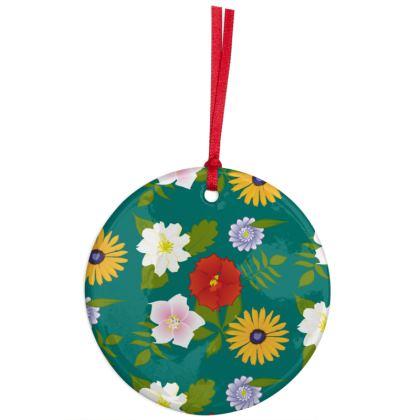 Flowers Christmas Ceramic Ornament - Green