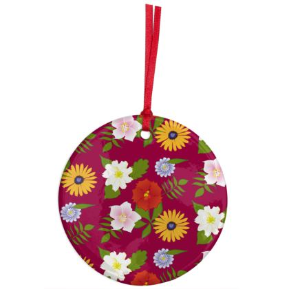 Flowers Christmas Ceramic Ornament - Dark Red