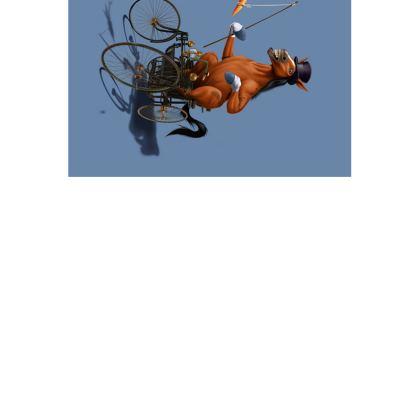 Horse Power ~ Wordless Animal Behaviour Art Postcard