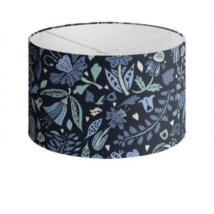 Blue Meadow Drum Lamp Shade
