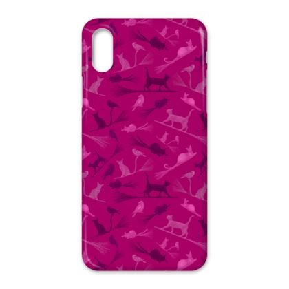 iPhone Case - Hot Pink Cats on Broomsticks