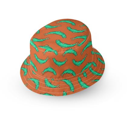 Orange and turquoise Fish Bucket Hat