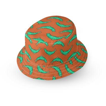 Orange and turquoise Fish Bucket Hat