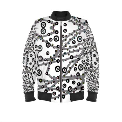 Black and White Dots Powerful Mens Bomber Jacket