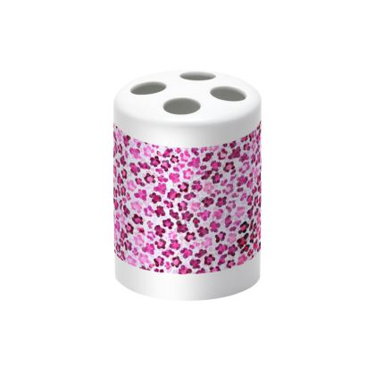 Leopard Skin in Magenta Collection Toothbrush Holder