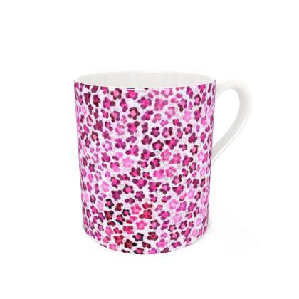 Leopard Skin in Magenta Collection Bone China Mug