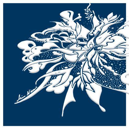 Cushion - Kudde - White ink Navy