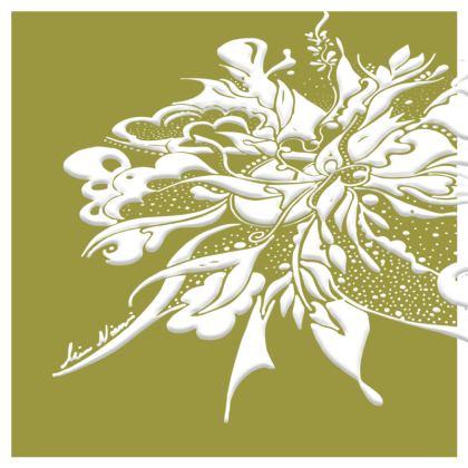 Cushion - Kudde - White ink Golden Lime