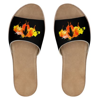 Womens Leather Sliders - Fire Man