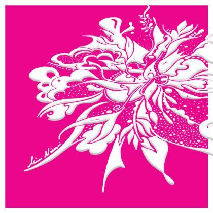 Cushion - Kudde - White ink Hot Pink
