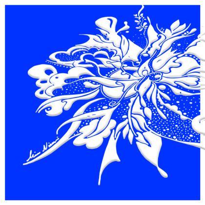 Cushion - Kudde - White ink Clear Blue