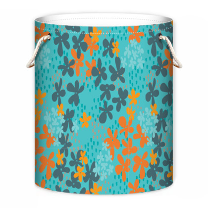 Pop Floral Tangerine laundry bag