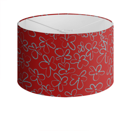 Pop Floral Ruby drum lamp shade