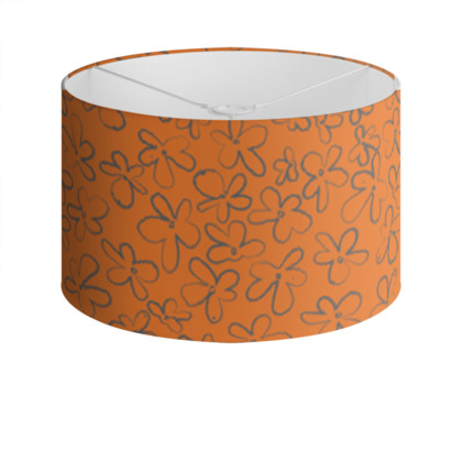 Pop Floral Tangerine drum lamp shade