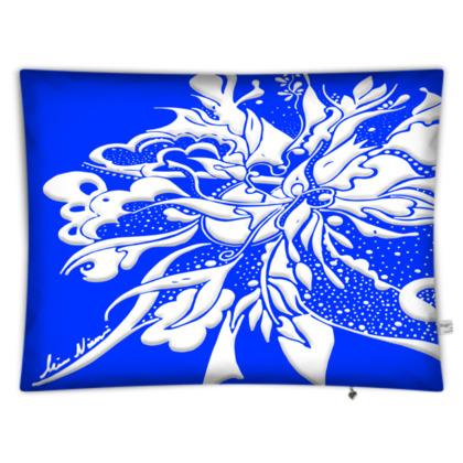 Floor Cushion - Golvkudde - White ink Clear Blue