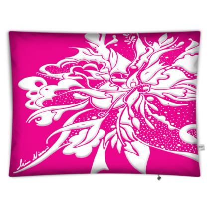 Floor Cushion - Golvkudde - White ink Hot Pink