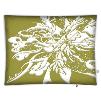 Floor Cushion - Golvkudde - White ink Golden Lime
