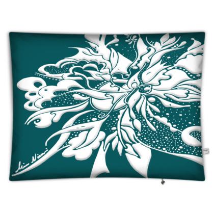 Floor Cushion - Golvkudde - White ink Shaded Spruce
