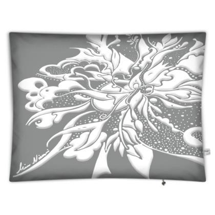 Floor Cushion - Golvkudde - White ink Neutral Gray