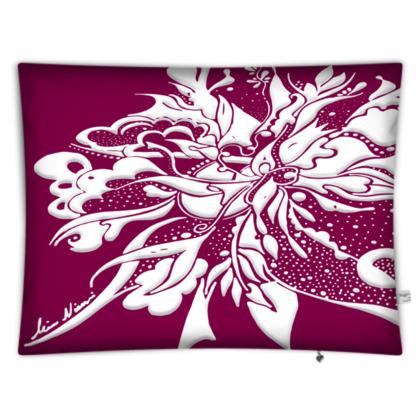Floor Cushion - Golvkudde - White ink Tawny Port