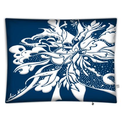 Floor Cushion - Golvkudde - White ink Navy