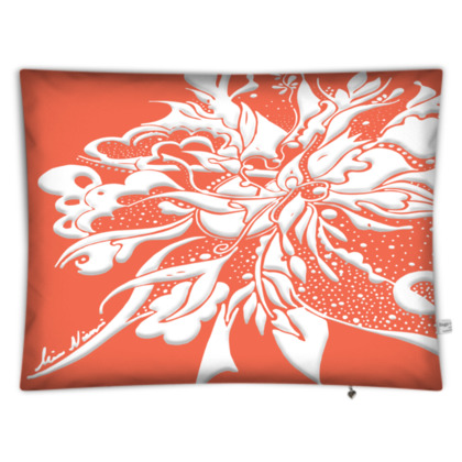 Floor Cushion - Golvkudde - White ink Peach