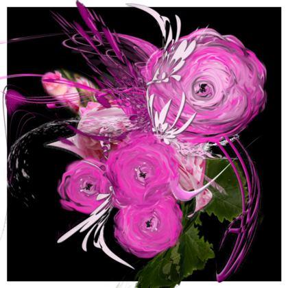 Cushion - Kudde - Pink summer fantasy black
