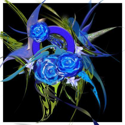 Cushion - Kudde - Blue flower black