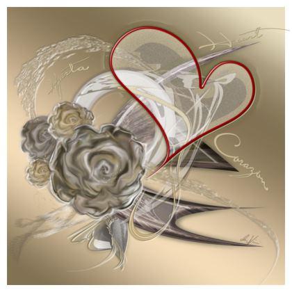 Cushion - Kudde - Brown heart brown gradient