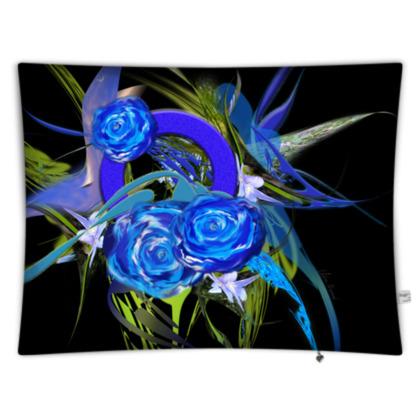 Floor Cushion - Golvkudde - Blue flower black