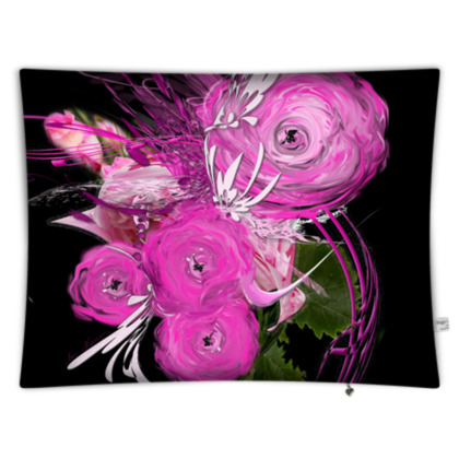 Floor Cushion - Golvkudde - Pink summer fantasy black