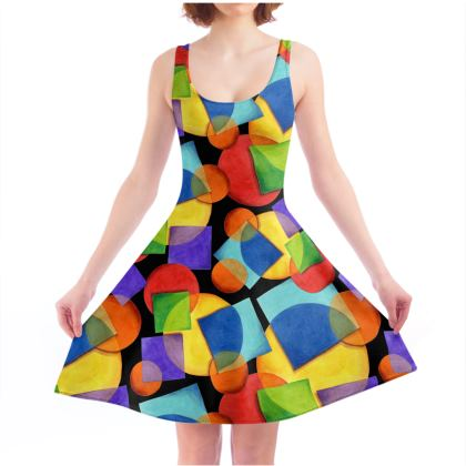 Candy Rainbow Geometric Skater Dress