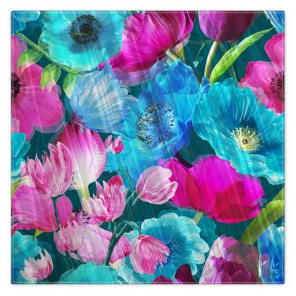 Teal and Magenta Pink Photographic Floral Scarf