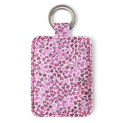 Leopard Skin in Magenta Collection Leather Keyring