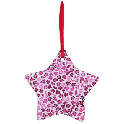 Leopard Skin in Magenta Collection Christmas Ornaments