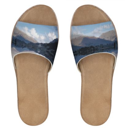 Womens Leather Sliders - Lake District