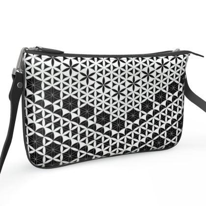 Pochette Double Zip Bag Flower Of Life Black White