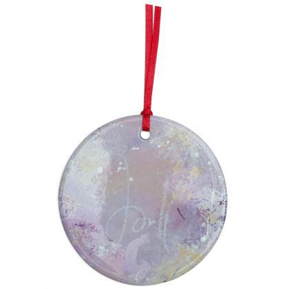 Cherish Jewel Tone Ceramic Christmas Ornament