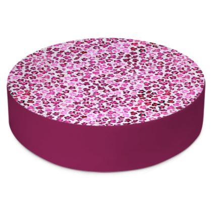 Leopard Skin in Magenta Collection Round Floor Cushions