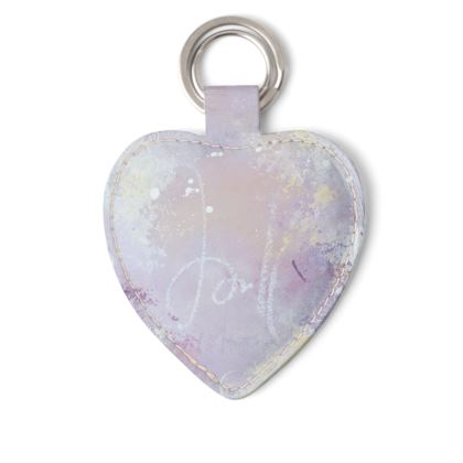 Cherished Leather Keyring in Soft Pink and Purple Tones