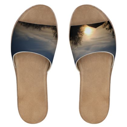 Women's Leather Sliders - Low Sunset