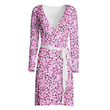 Leopard Skin in Magenta Collection Wrap Dress