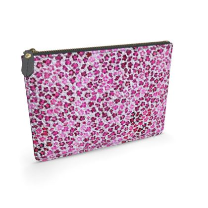 Leopard Skin in Magenta Collection Leather Pouch