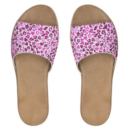 Leopard Skin in Magenta Collection Womens Leather Sliders