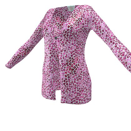 Leopard Skin in Magenta Collection Ladies Cardigan With Pockets