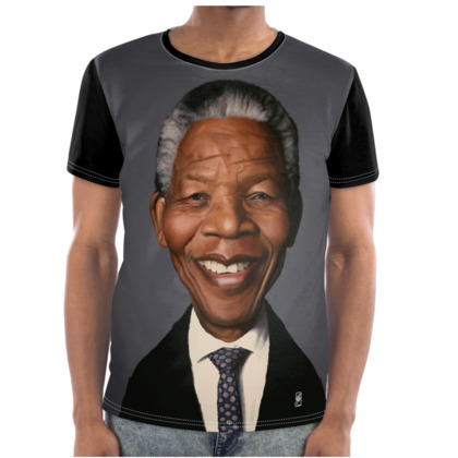 Nelson Mandela Celebrity Caricature Cut and Sew T Shirt