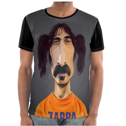 Frank Zappa Celebrity Caricature Cut and Sew T Shirt