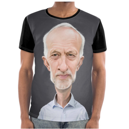Jeremy Corbyn Celebrity Caricature Cut and Sew T Shirt