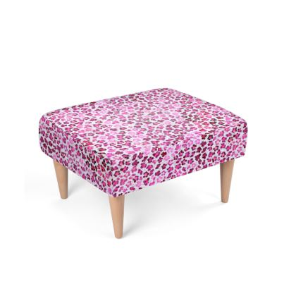 Leopard Skin in Magenta Collection Footstool