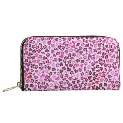 Leopard Skin in Magenta Collection Leather Zip Purse